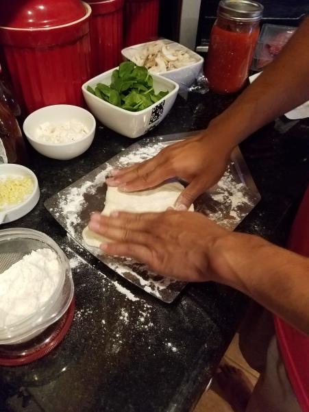 Pizza making in progress