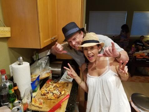Karen, Eric and their pizza