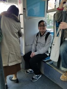 Ryan on the bus in Nagasaki