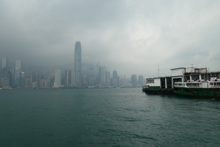 View of the Hong Kong skyline across Victoria Harbour