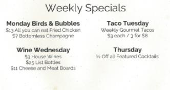 Weekly Specials at Rain Honolulu